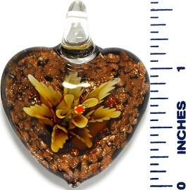Glass Pendant Heart Flower Black Gold PD3527