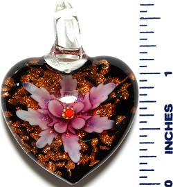 Glass Pendant Heart Flower Black Gold Pink PD3528