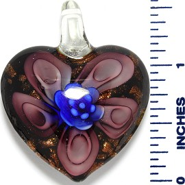 Glass Pendant Heart Flower Black Gold Blue Purple PD3529
