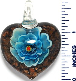 Glass Pendant Heart Flower Black Gold Turquoise PD3535