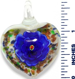 Glass Pendant Heart Flower White Gold Blue PD3538