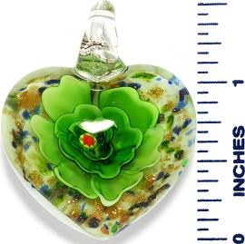 Glass Pendant Heart Flower White Gold Green PD3540