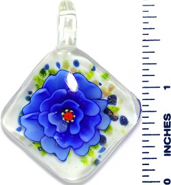 Glass Pendant Square Flower White Green Blue PD3544