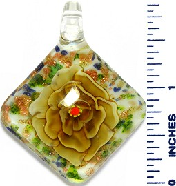 Glass Pendant Square Flower White Green Gold PD3546