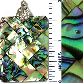 Abalone Pendant Rectangle Green PD3577