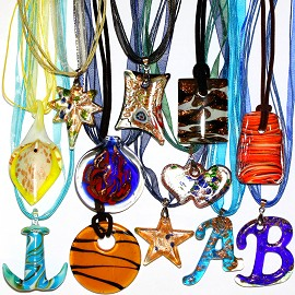 12pcs Mix Glass Pendants w/ Ribbons Final Sale PD3581