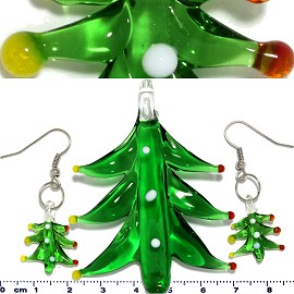 Glass Pendant Earrings Christmas Tree Green PD3602