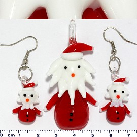 Glass Pendant Earrings Santa Claus Red White PD3604