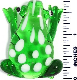 Glass Pendant Frog Green White PD3624