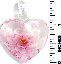 Glass Pendant Flower Heart Clear Pink PD3641