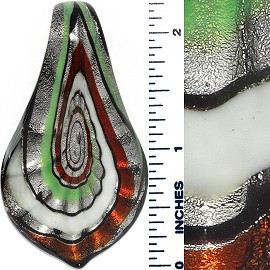 Glass Pendant Spoon Green Red White Silver PD3707