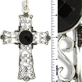 Crystal Pendant Cross Silver Black PD3721
