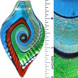Glass Pendant Leaf Green Red Turquoise PD3762
