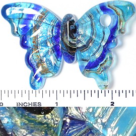 Glass Pendant Butterfly Turquoise PD3778