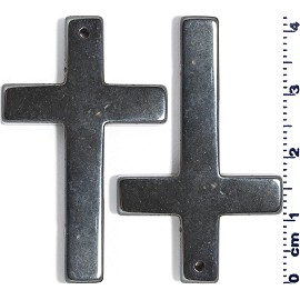 2pc 42x26x4mm A+ Hematite Cross Pendant Black PD3807