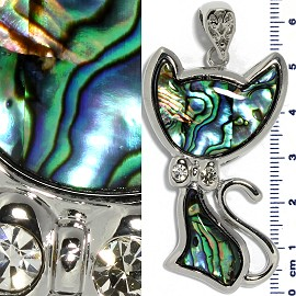 Abalone Pendant Cat Silver Green PD3831