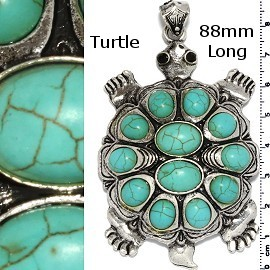 Earth Stone Pendant Turtle Silver Turquoise PD3860