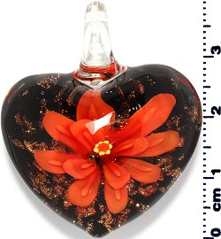 Glass Pendant Flower Heart Black Gold Orange PD3864