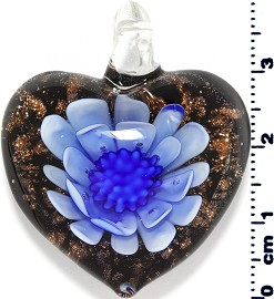 Glass Pendant Flower Heart Black Gold Blue PD3865