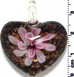 Glass Pendant Flower Heart Black Gold Pink PD3867