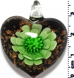 Glass Pendant Flower Heart Black Gold Green PD3871