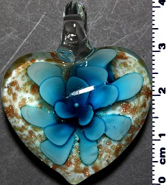 Glass Pendant Flower Heart White Gold Turquoise PD3874