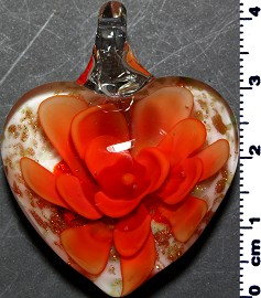 Glass Pendant Flower Heart White Gold Orange PD3875