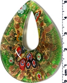 Glass Pendant Oval Point Gold Green PD3914
