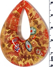 Glass Pendant Oval Point Gold Orange PD3917