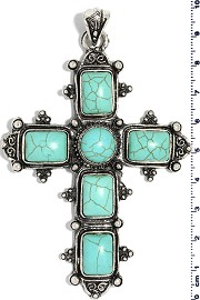 Earth Stone Cross Pendant Turquoise PD3942