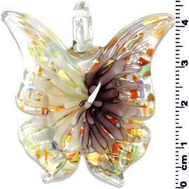 Glass Butterfly Pendant Purple Light Yellow PD3997