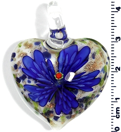 Glass Heart Blue Pendant Flower PD4001