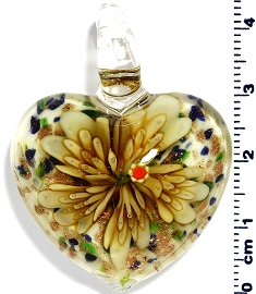 Glass Heart Pendant Yellow Flower PD4002