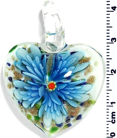 Glass Heart Turquoise Flower Pendant PD4004