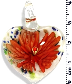 Glass Heart Orange Flower Pendant PD4005