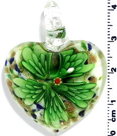 Glass Heart Green Flower Pendant PD4006