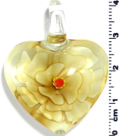 Glass Heart Light Yellow Flower Pendant PD4009