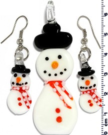 Glass Pendant Earrings Snowman Red White PD401