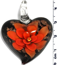 Glass Heart Orange Black Flower Pendant PD4010