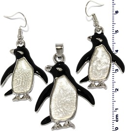 Pendant Earrings Set Penguin Shiny Black White Silver PD4013