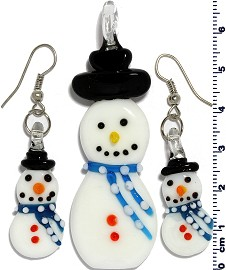 Glass Pendant Earrings Snowman Sky Blue White PD402