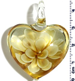 White Light Cream Yellow Flower Clear Heart Glass Pendant PD4021