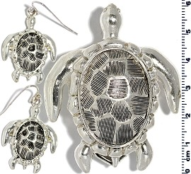 Set Pendant Earring Silver Turtle PD4023