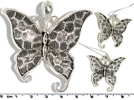 Set Pendant Earring Silver Butterfly PD4024