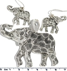 Set Pendant Earring Silver Elephant PD4025
