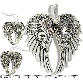 Set Pendant Earring Silver Angel Wings PD4028
