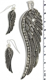 Set Pendant Earring Silver Long Angel Wing PD4029
