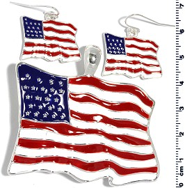 Set Pendant Earring USA Flag Red White Blue PD4038