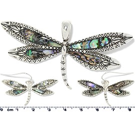 Set Earring Pendant Abalone Silver Green Dragonfly PD4039