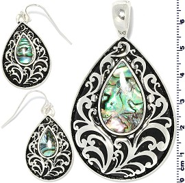 Set Earring Pendant Abalone Silver Green Tear Drop PD4043